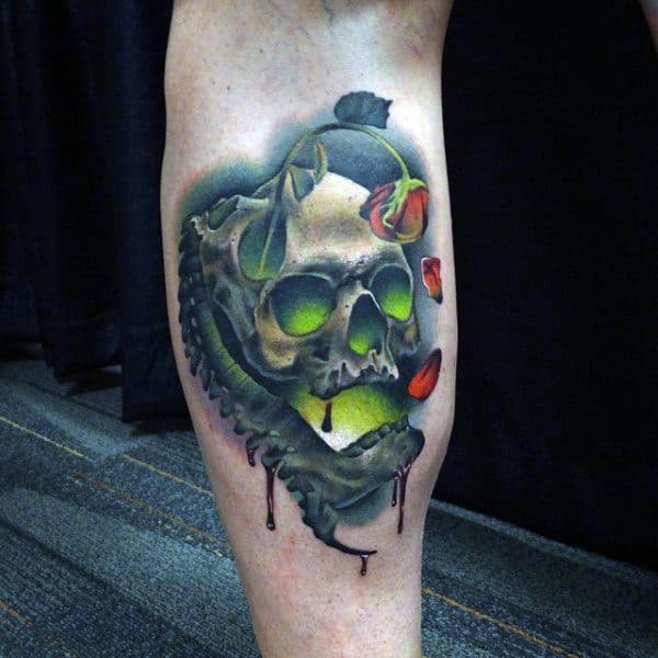 Mens Forearms Cool Tattoo Of Greenish Skull And Withered Rose