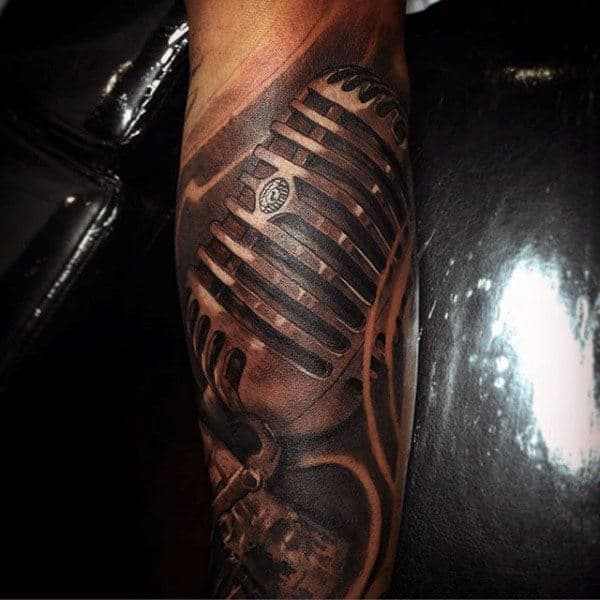 Mens Forearms Copper Shade Microphone Tattoo