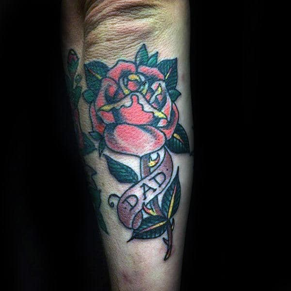 Mens Forearms Dad Rose Tattoo