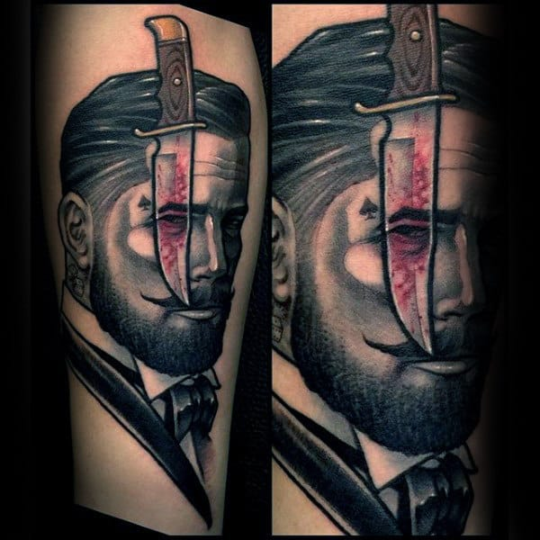 Mens Forearms Dagger And Man Tattoo