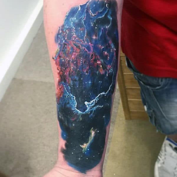 Mens Forearms Dark Astronomy Tattoo