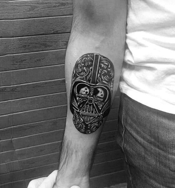 Mens Forearms Darth Vader Skull Tattoo