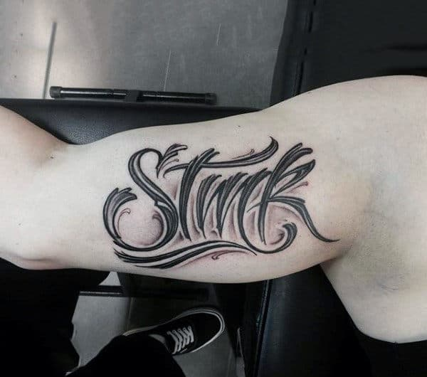 Mens Forearms Decorative Black Lettering Tattoo