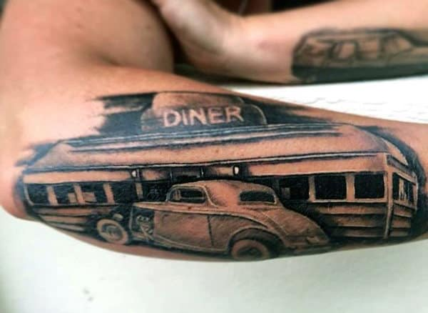 Mens Forearms Diner Hot Rod Tattoo