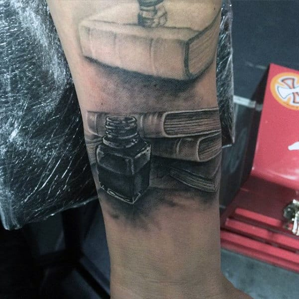 Mens Forearms Dusty Book And Ink Bottle Tattoo