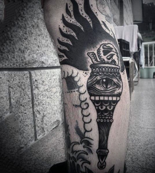 Mens Forearms Eye In Flaming Torch Tattoo