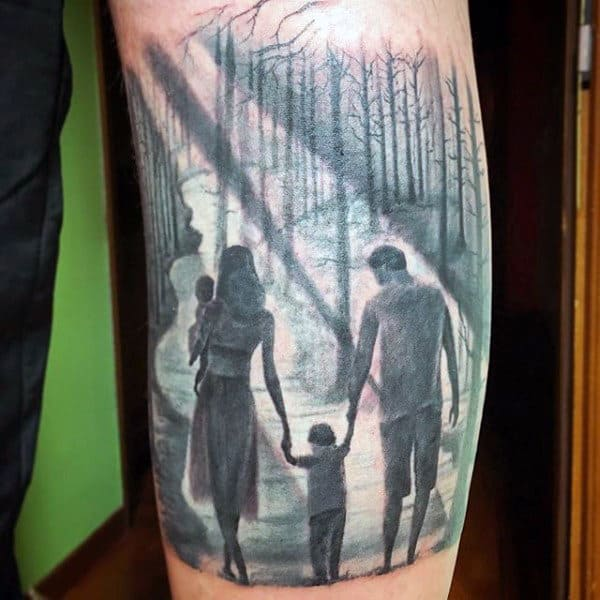 Mens Forearms Family Of Four In Woods Tattoo