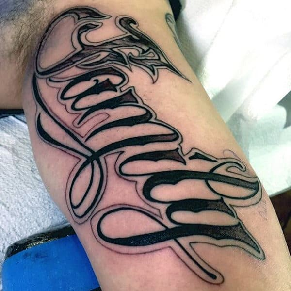 Mens Forearms Family Word Tattoo