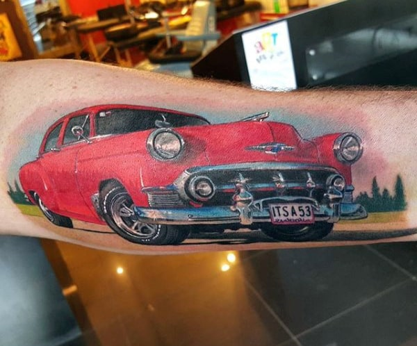 Mens Forearms Flashy Red Car Hot Rod Tattoo