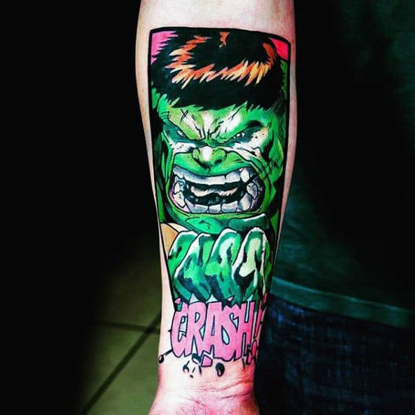 Mens Forearms Fluroscent Green Hulk Tatoo
