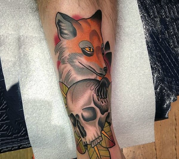 Mens Forearms Fox And Skull Tattoo