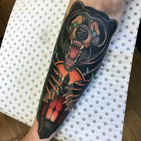 Mens Forearms Furious Neo Traditonal Animal Tatto