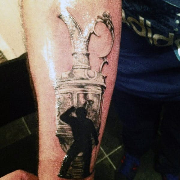 Mens Forearms Gleaming Award And Golfer Tattoo