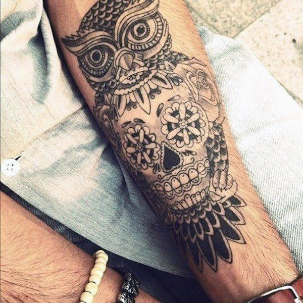 Mens Forearms Gorgeous Owl Day Of The Dead Tattoo