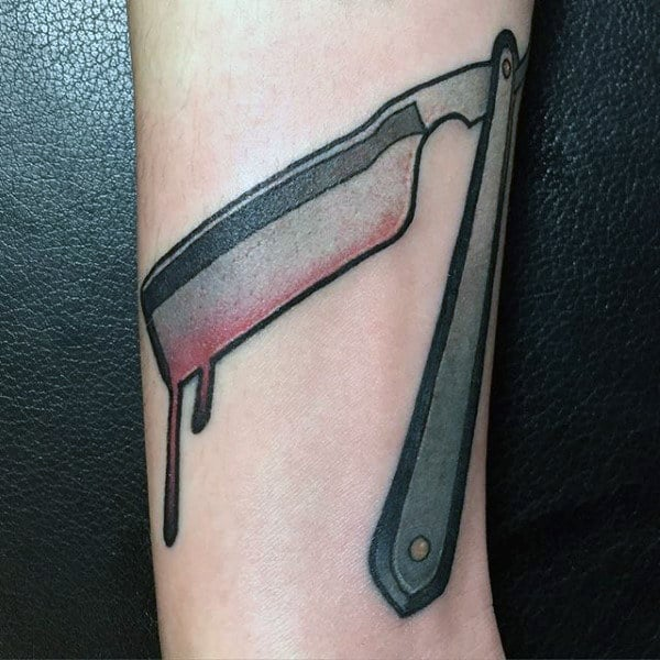 Mens Forearms Gorgeous Straight Razor Tattoo