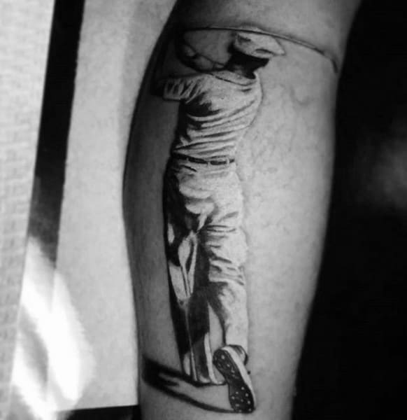 Mens Forearms Graphic Golfer Tattoo