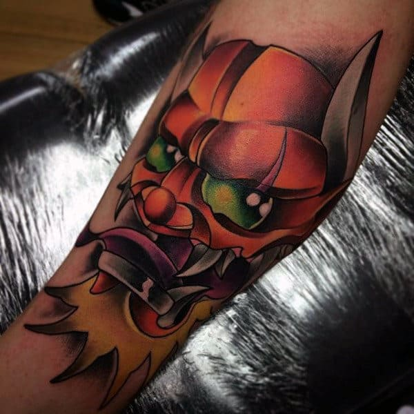 Mens Forearms Green Eyed Monster New School Tattoo