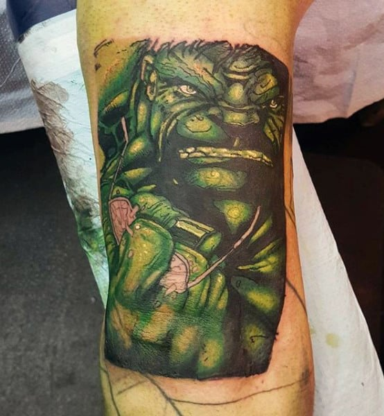Mens Forearms Green Hulk Tattoo