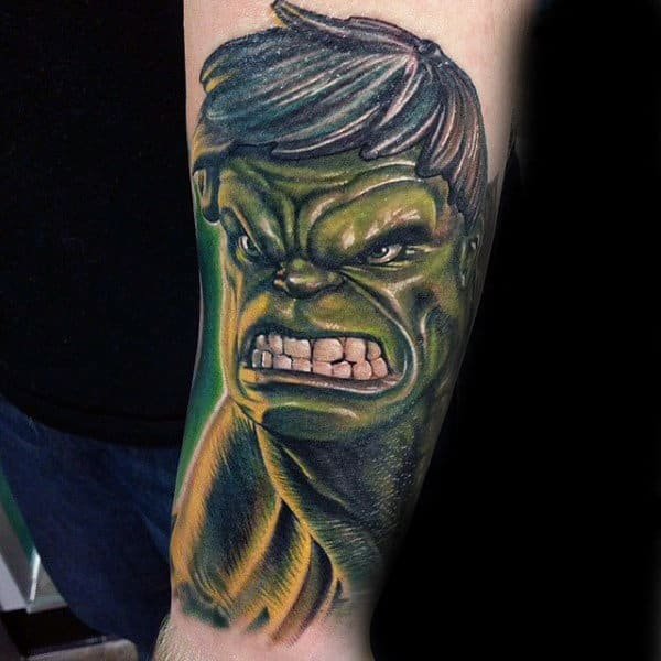 Mens Forearms Green Monster Hulk Tattoo