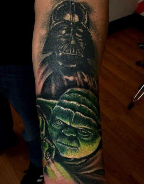 Mens Forearms Green Yoda Darth Vader Tattoo