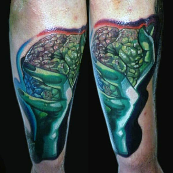 Mens Forearms Greenish Slimy Brain Tattoo