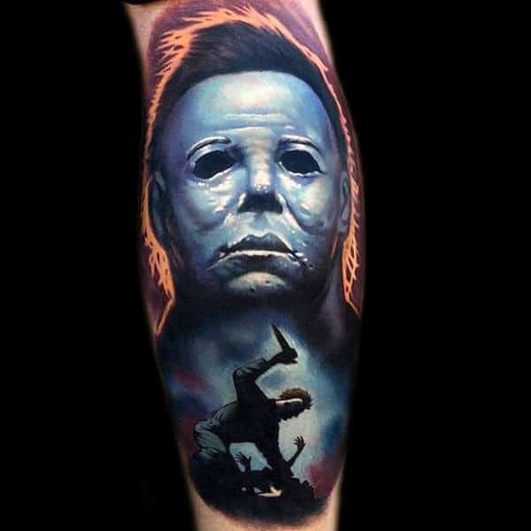 Mens Forearms Grey Blue Ghost Halloween Tattoo
