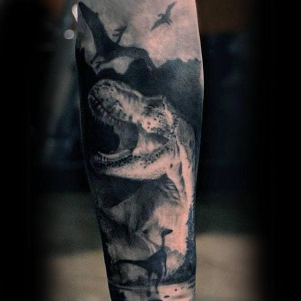 Mens Forearms Grey Shaded Dinosaur Flying Tattoo