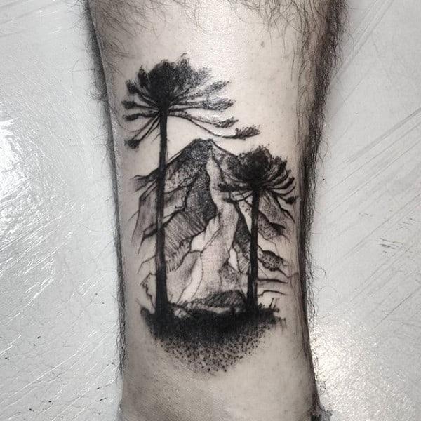 Mens Forearms Grey Watercolor Tree Tattoo