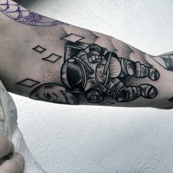 Mens Forearms Greyish Astronaut Tattoo