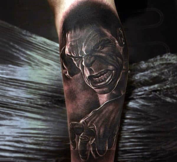 Mens Forearms Greyish Hulk Tattoo