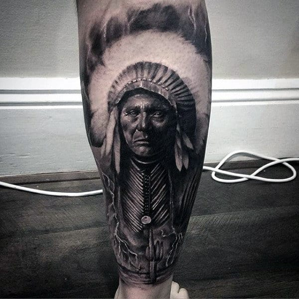 Mens Forearms Grim Loooking Native American Tattoo