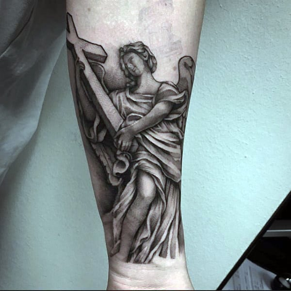 Mens Forearms Guardian Angel And Cross Tattoo