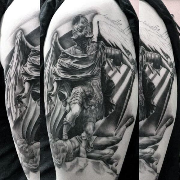 Mens Forearms Guardian Angel Killing Devil Tattoo