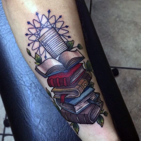 Mens Forearms Heap Of Books And Magical Star Tattoo