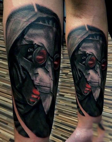 Mens Forearms Horrific Masked Man Steampunk Tattoo