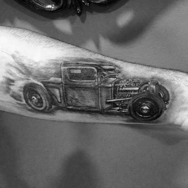 Mens Forearms Hot Rod Grey Sketch Tattoo