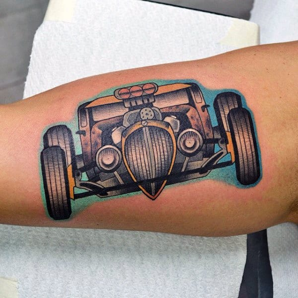 Mens Forearms Hot Rod Vehicle Tattoo