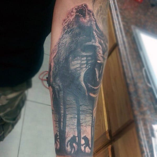 Mens Forearms Howling Werewolf And Trees Tattoo