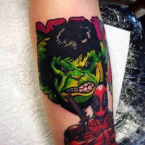 Mens Forearms Hulk And Alien Tattoo