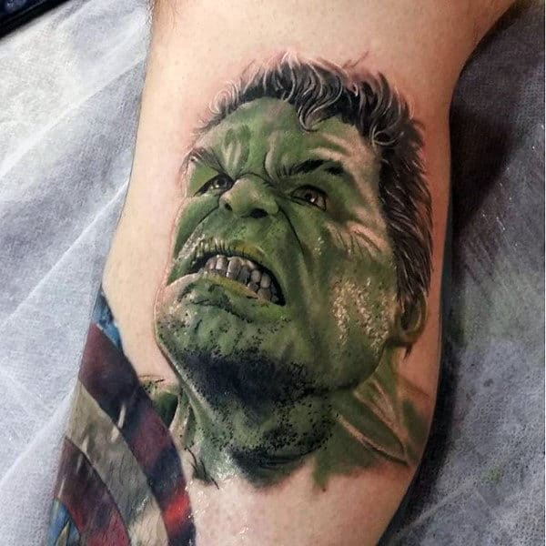 Mens Forearms Hulk Anger Tattoo