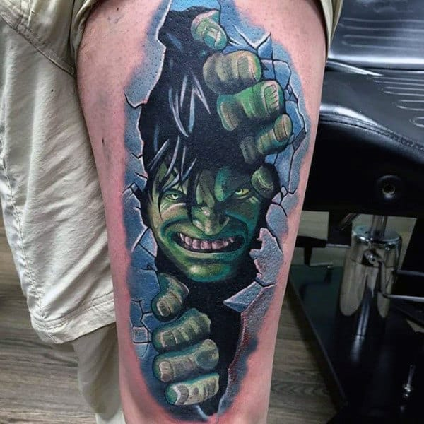 Mens Forearms Hulk Breaking Through Wall Tattoo