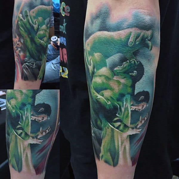 Mens Forearms Hulk Tattoo