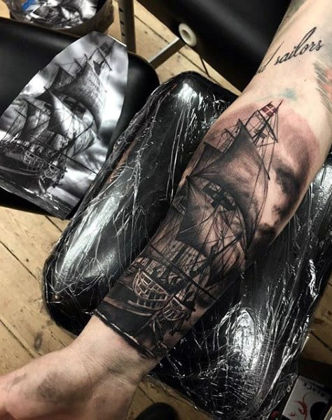 Mens Forearms Impressive Black And Grey Ship Tattoo