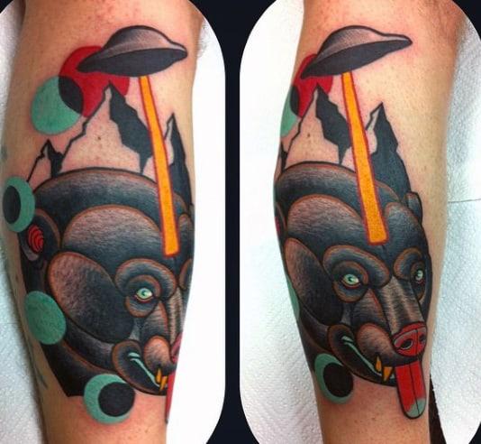 Mens Forearms Innovative Ufo Rays On Beast Tattoo