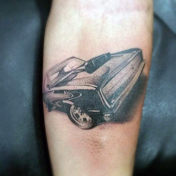 Mens Forearms Interesting Grey Car Tattoo