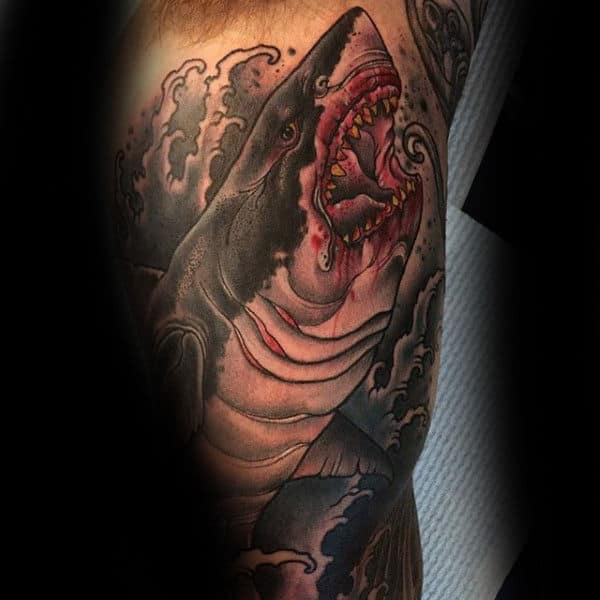 Mens Forearms Interesting Tattoo Of Bloody Shark
