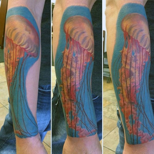 Mens Forearms Jellfish With Red Tentacles Tattoo