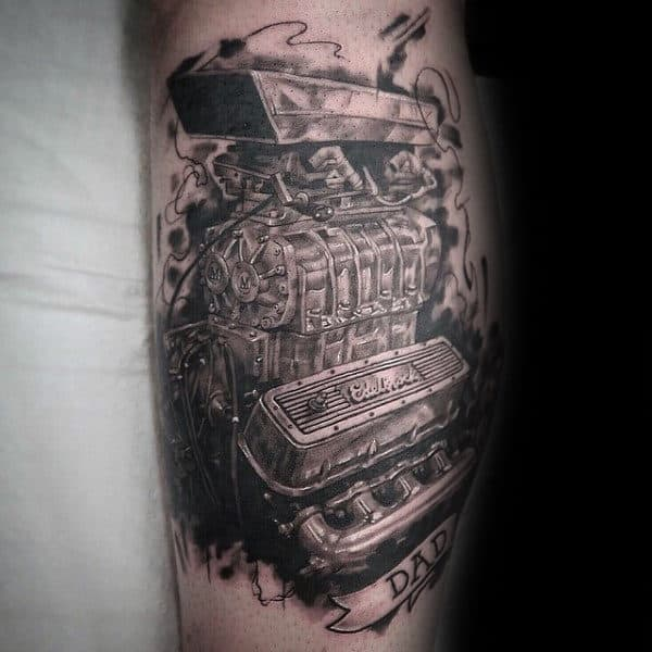 Mens Forearms Large Engine Tattoo