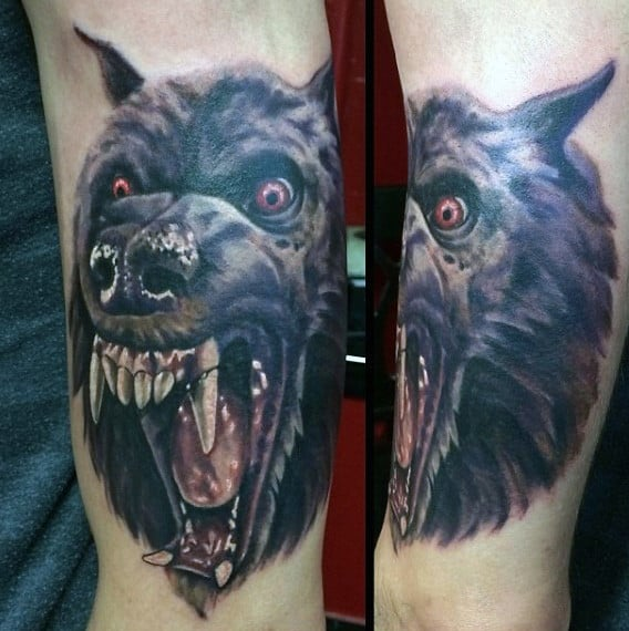 Mens Forearms Large Fanged Werewolf Head Tattoo