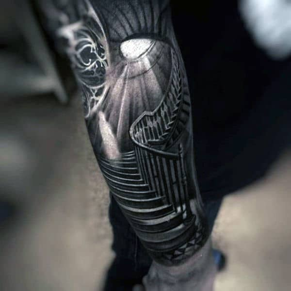 Mens Forearms Light Filtering On Spiral Staircase Black And Grey Tattoo